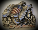 Harley Davidson 'Spread wings & open throttle' Solid Brass Belt Buckle. Code H075